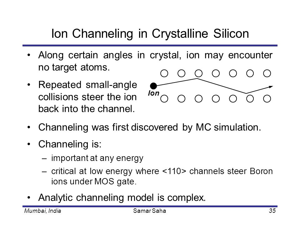 Mumbai, IndiaSamar Saha35 Ion Channeling in Crystalline Silicon Along certain angles in crystal, ion may encounter no target atoms. Ion Repeated small