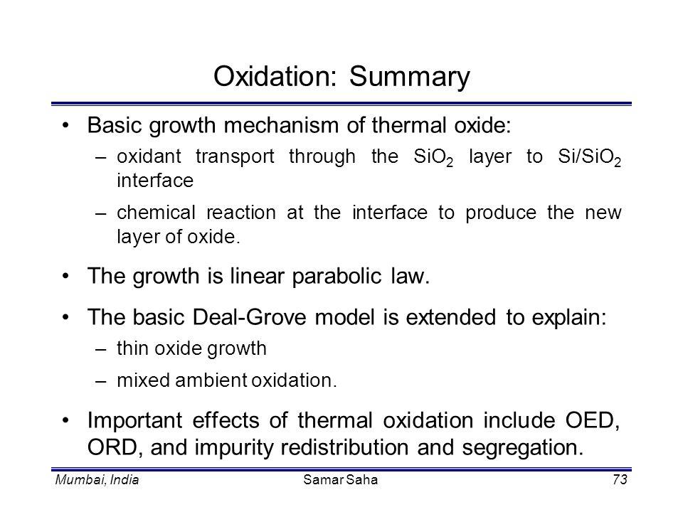 Mumbai, IndiaSamar Saha73 Oxidation: Summary Basic growth mechanism of thermal oxide: –oxidant transport through the SiO 2 layer to Si/SiO 2 interface