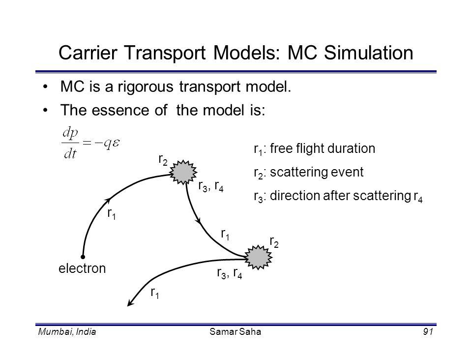 Mumbai, IndiaSamar Saha91 Carrier Transport Models: MC Simulation MC is a rigorous transport model. The essence of the model is: electron r1r1 r2r2 r