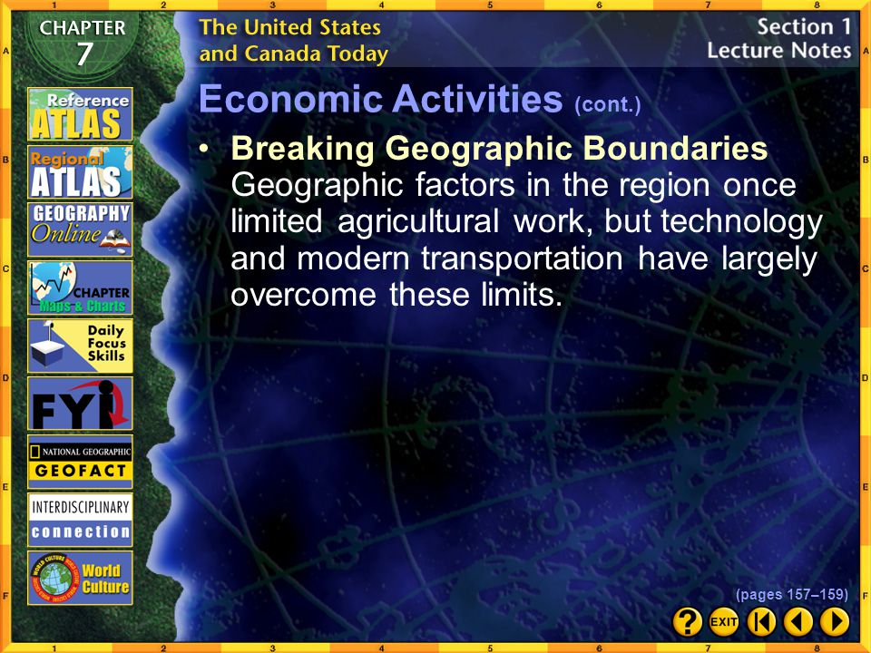 Section 1-9 Click the Speaker button to listen to the audio again. Economic Activities (cont.) (pages 157–159)