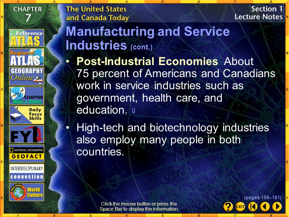 Section 1-13 Click the Speaker button to listen to the audio again. Manufacturing and Service Industries (cont.) (pages 159–161)