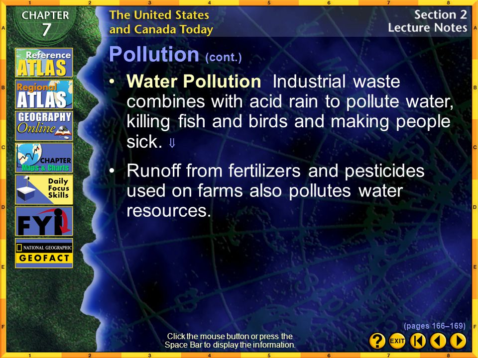 Section 2-10 Click the Speaker button to listen to the audio again. Pollution (cont.) (pages 166–169)