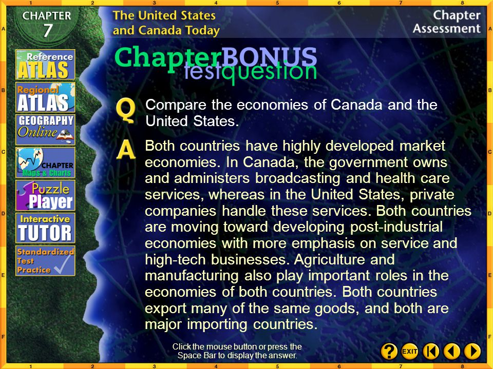 Chapter Assessment 10 Click the mouse button or press the Space Bar to display the answers. Locating Places Match the letters on the map with the phys