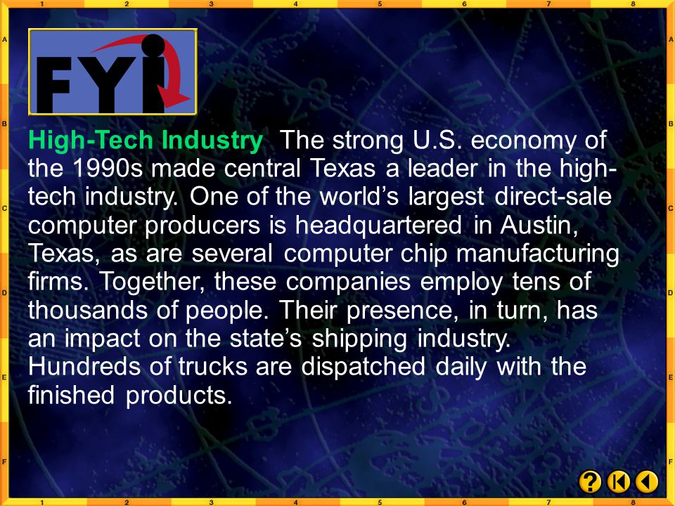 FYI 1 High-Tech Industry Highway System Click on a hyperlink to view the corresponding slide.