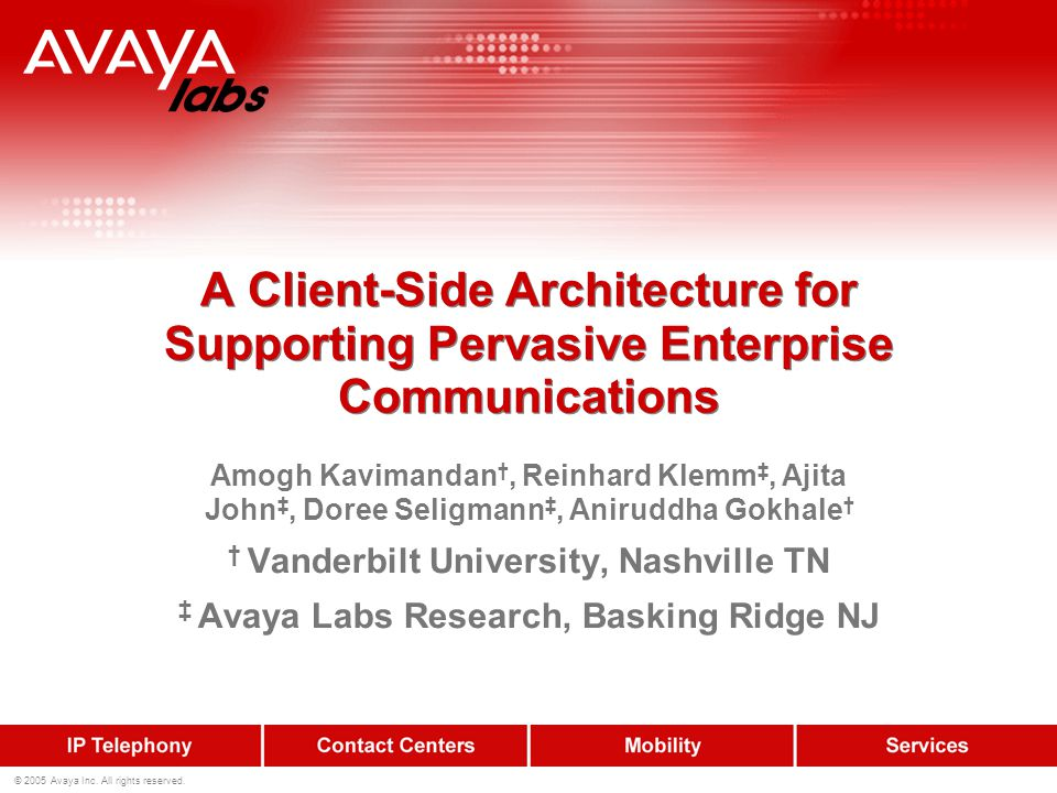 2 © 2005 Avaya Inc.All rights reserved.