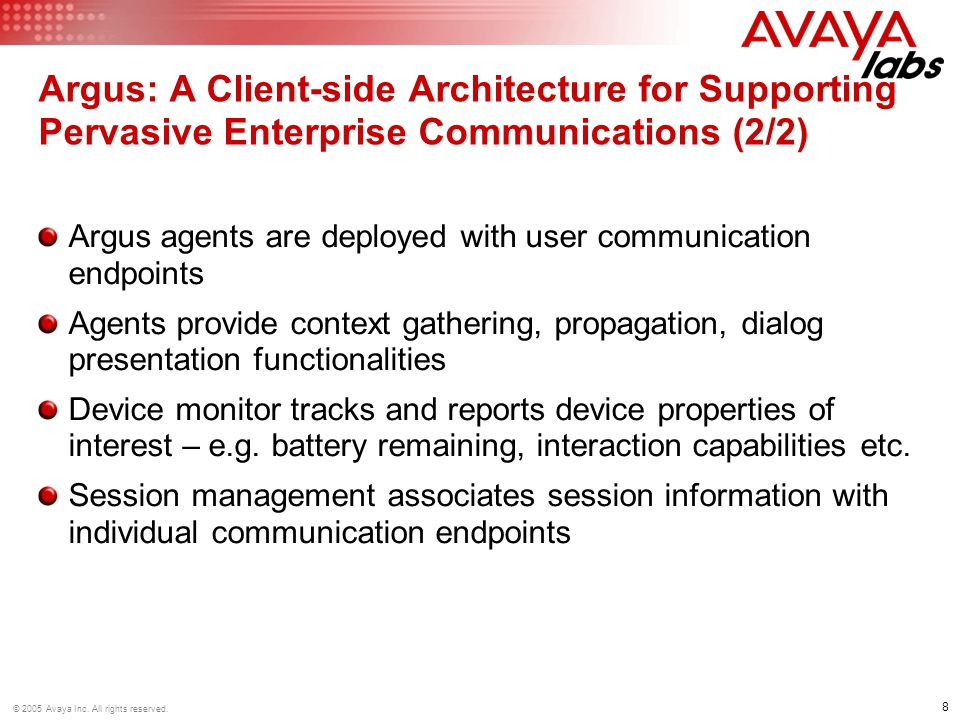 8 © 2005 Avaya Inc. All rights reserved.