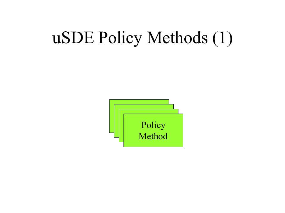 uSDE Policy Methods (1) Policy Method Policy Method Policy Method Policy Method