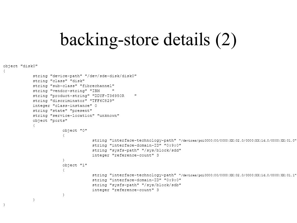 backing-store details (2) object