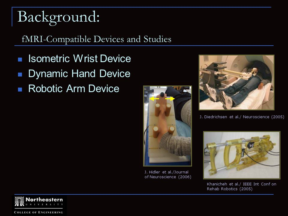 Background: fMRI-Compatible Devices and Studies Isometric Wrist Device Dynamic Hand Device Robotic Arm Device J.