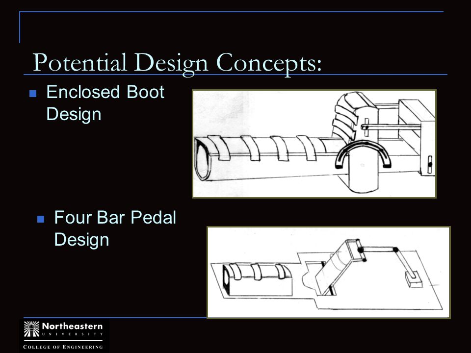 Potential Design Concepts: Enclosed Boot Design Four Bar Pedal Design