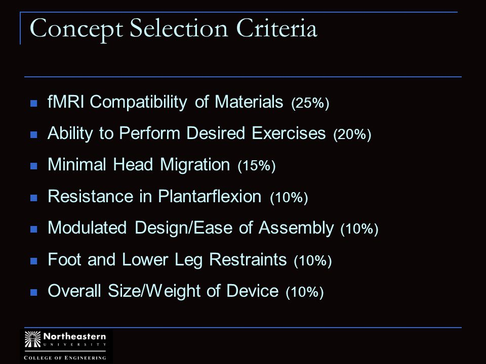 Concept Selection Criteria fMRI Compatibility of Materials (25%) Ability to Perform Desired Exercises (20%) Minimal Head Migration (15%) Resistance in Plantarflexion (10%) Modulated Design/Ease of Assembly (10%) Foot and Lower Leg Restraints (10%) Overall Size/Weight of Device (10%)