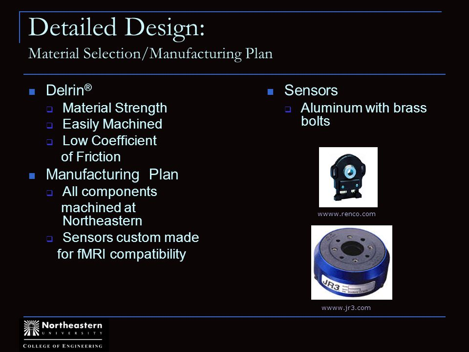 Detailed Design: Material Selection/Manufacturing Plan Delrin ® Material Strength Easily Machined Low Coefficient of Friction Manufacturing Plan All components machined at Northeastern Sensors custom made for fMRI compatibility wwww.renco.com wwww.jr3.com Sensors Aluminum with brass bolts