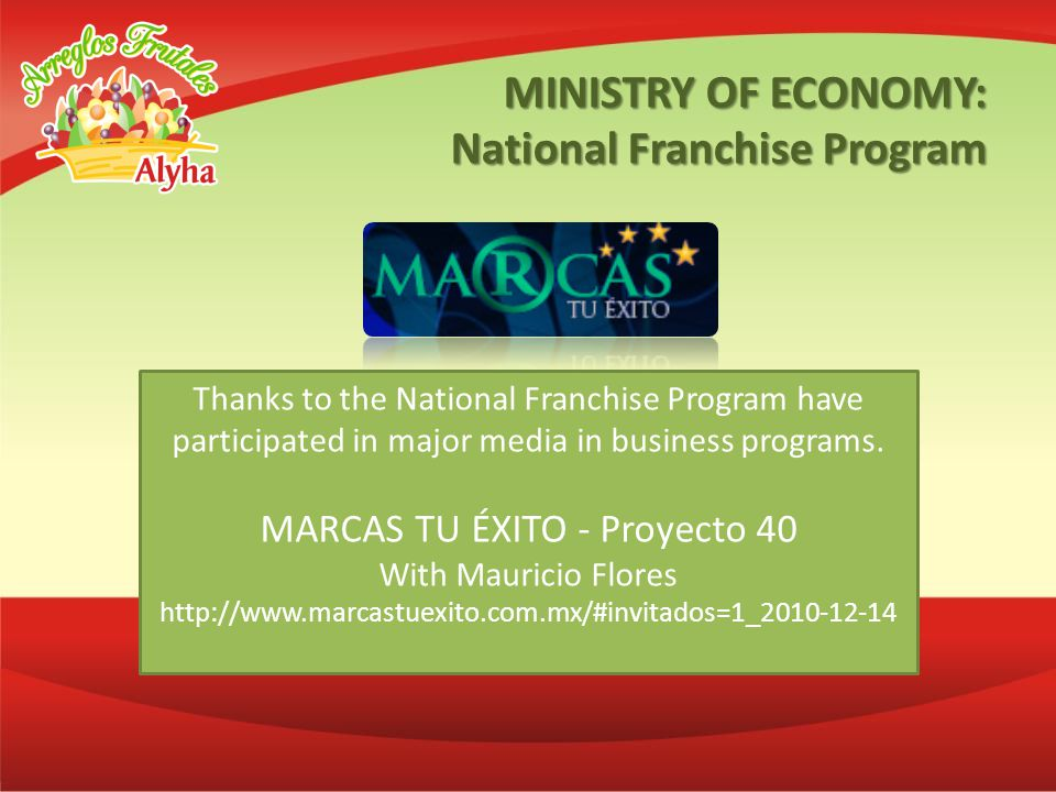 Thanks to the National Franchise Program have participated in major media in business programs.