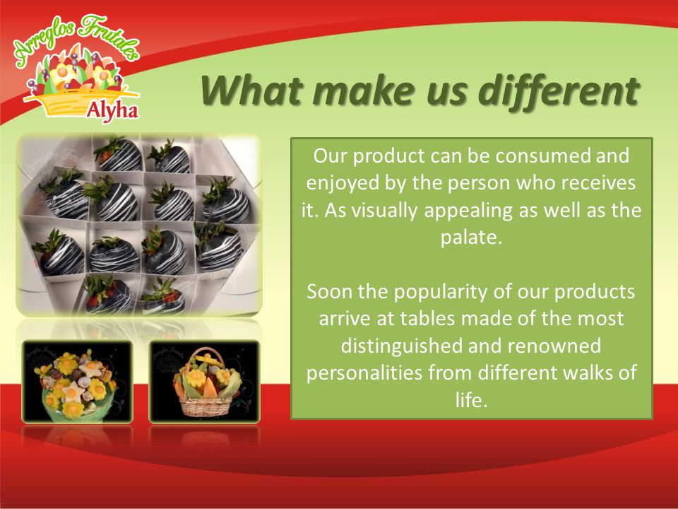 What make us different Our product can be consumed and enjoyed by the person who receives it.