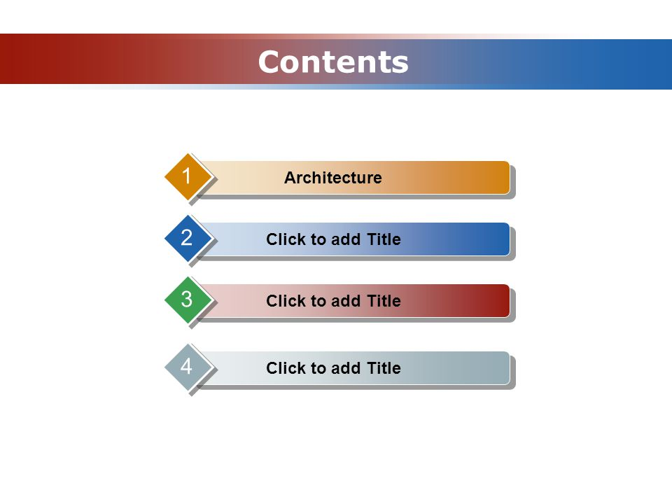 Contents Architecture 1 Click to add Title 2 3 4