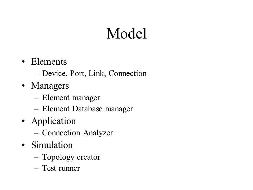 Model Elements –Device, Port, Link, Connection Managers –Element manager –Element Database manager Application –Connection Analyzer Simulation –Topology creator –Test runner