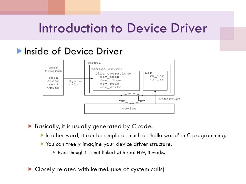 Introduction to Device Driver Inside of Device Driver Basically, it is usually generated by C code.