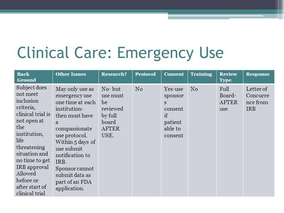 Clinical Care: Emergency Use Back Ground Other IssuesResearch ProtocolConsentTrainingReview Type Response Subject does not meet inclusion criteria, clinical trial is not open at the institution, life threatening situation and no time to get IRB approval Allowed before or after start of clinical trial May only use as emergency use one time at each institution- then must have a compassionate use protocol.