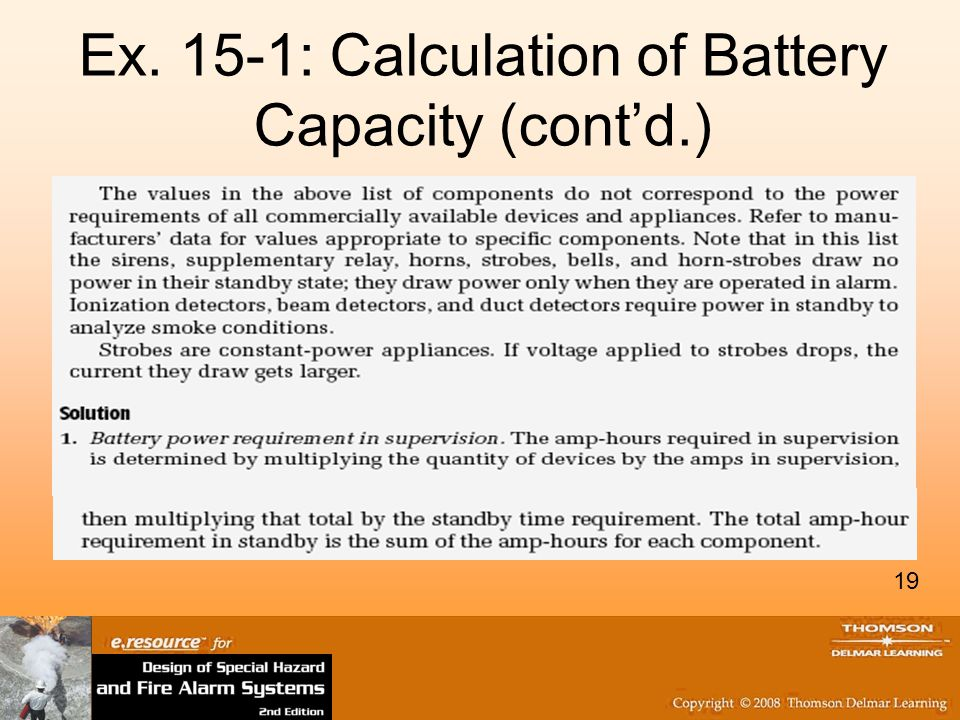 19 Ex. 15-1: Calculation of Battery Capacity (contd.) 19