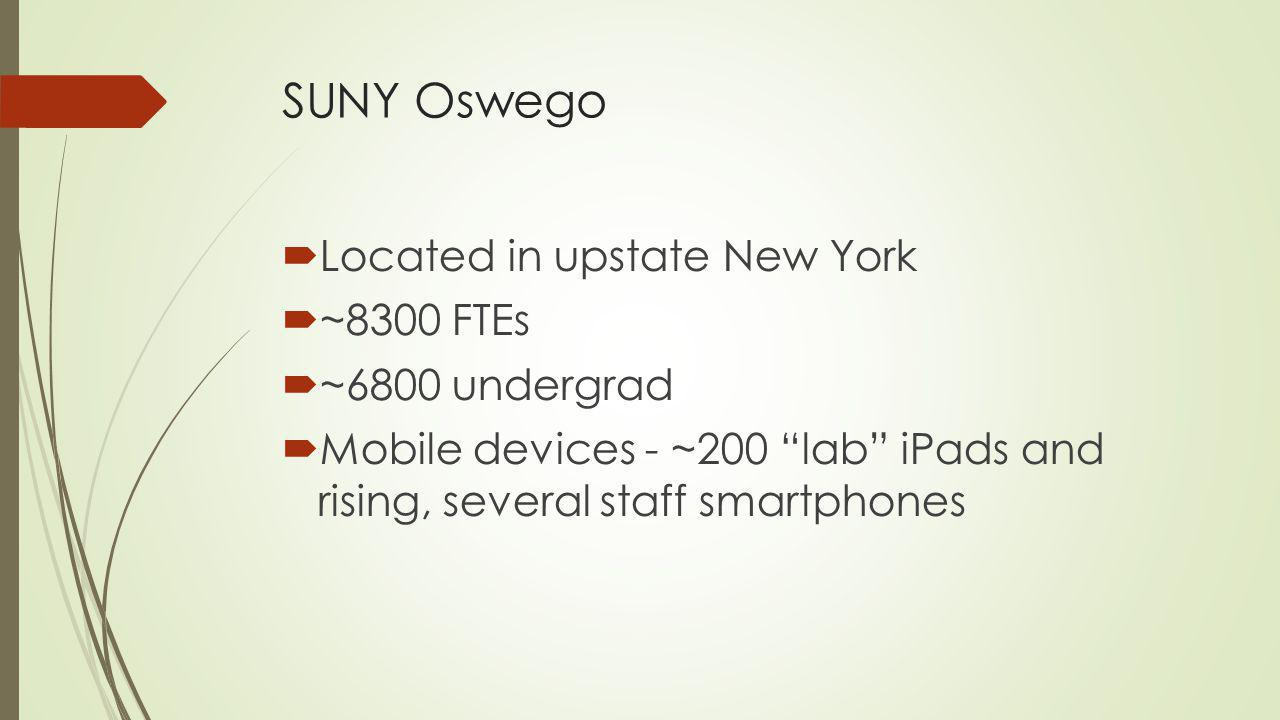 SUNY Oswego Located in upstate New York ~8300 FTEs ~6800 undergrad Mobile devices - ~200 lab iPads and rising, several staff smartphones