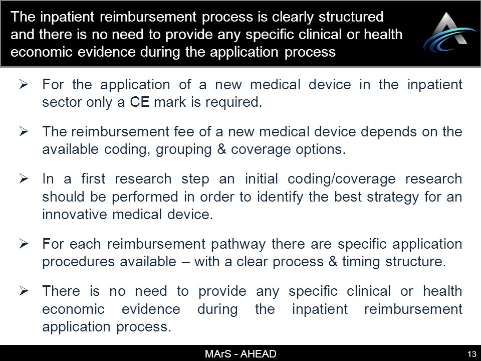 MArS - AHEAD 13 The inpatient reimbursement process is clearly structured and there is no need to provide any specific clinical or health economic evidence during the application process For the application of a new medical device in the inpatient sector only a CE mark is required.