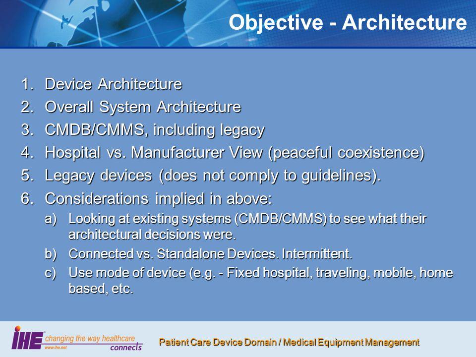 Patient Care Device Domain / Medical Equipment Management 5.