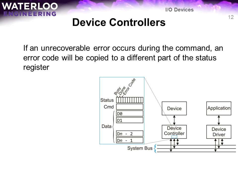 Device Controllers If an unrecoverable error occurs during the command, an error code will be copied to a different part of the status register I/O De