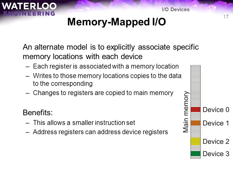 Memory-Mapped I/O An alternate model is to explicitly associate specific memory locations with each device –Each register is associated with a memory