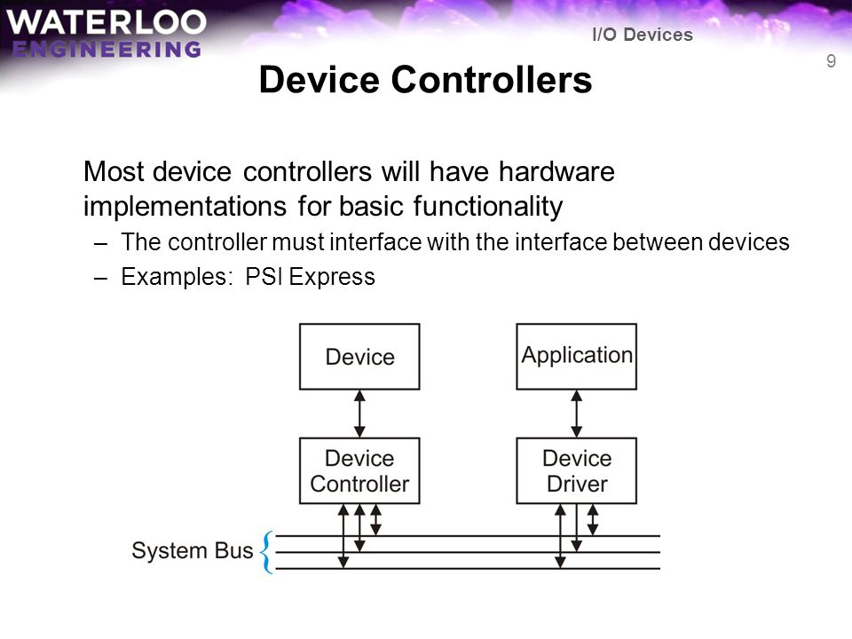 Device Controllers Most device controllers will have hardware implementations for basic functionality –The controller must interface with the interfac