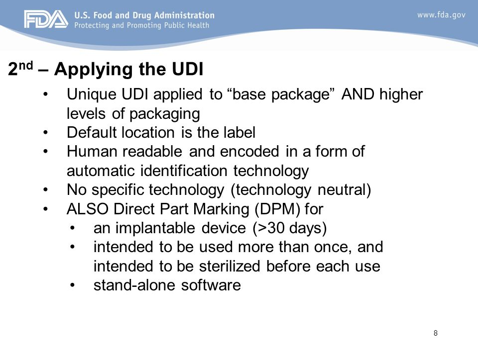 9 3 rd – Storing in Global UDI Database (GUDID) GUDID is Catalog using device identifier (DI) as primary key to identify down to the model/version of a Device Identifiers (primary, secondary, packaging) are used to link history and packaging configurations of same device Device Identifier (DI) is look-up to associated device identification data attributes.