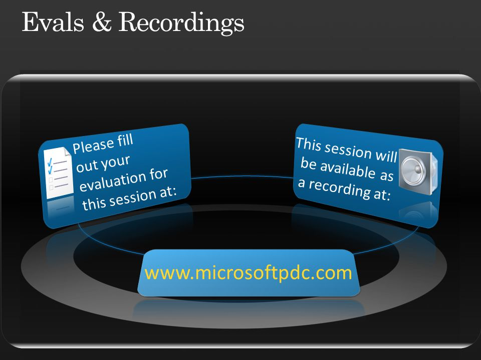 Please fill out your evaluation for this session at: This session will be available as a recording at: www.microsoftpdc.com