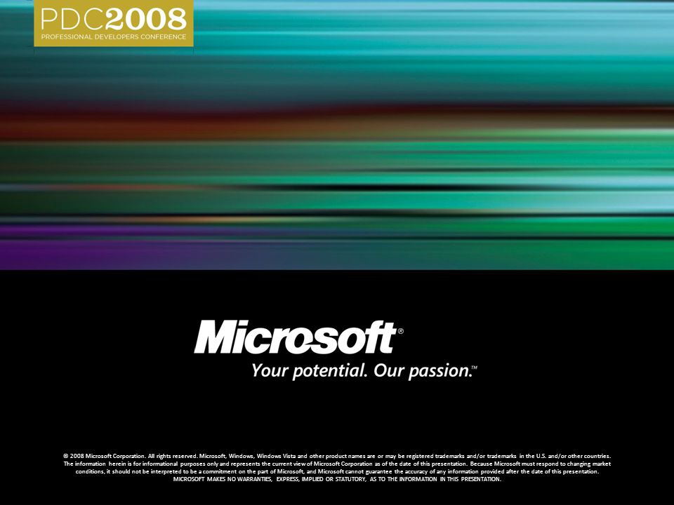 © 2008 Microsoft Corporation. All rights reserved. Microsoft, Windows, Windows Vista and other product names are or may be registered trademarks and/o