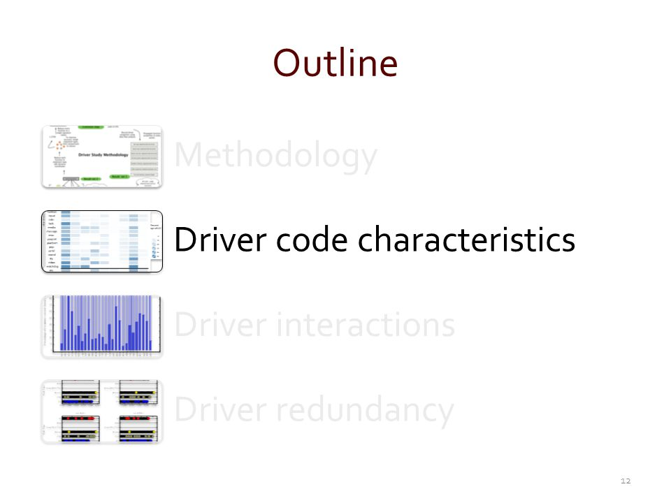 Outline Methodology Driver code characteristics Driver interactions Driver redundancy 12