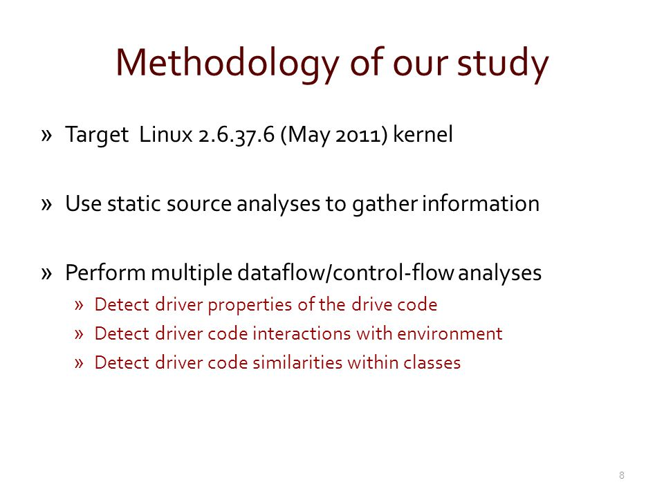 Class definition used to record state »Modern research assumes drivers conform to class behavior »Example: Driver recovery (Shadow drivers [OSDI 04] ) »Driver state is recorded based on interfaces defined by class »State is replayed upon restart after failure to restore state Figure from Shadow drivers paper 19 Non-class behavior can lead to incomplete restore after failure