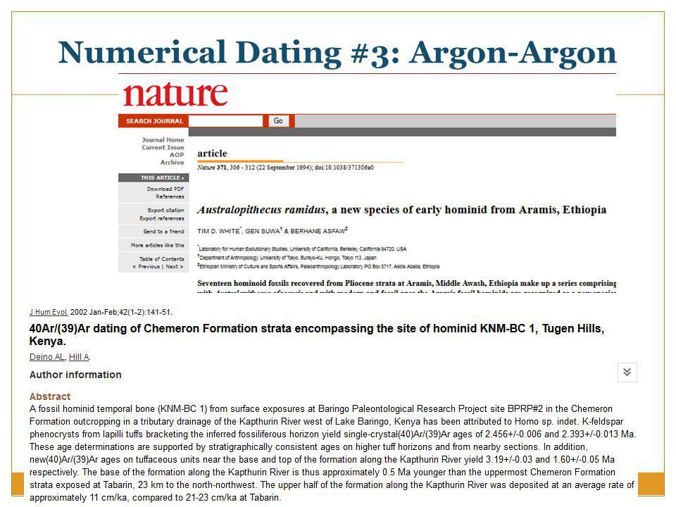 Numerical Dating #3: Argon-Argon