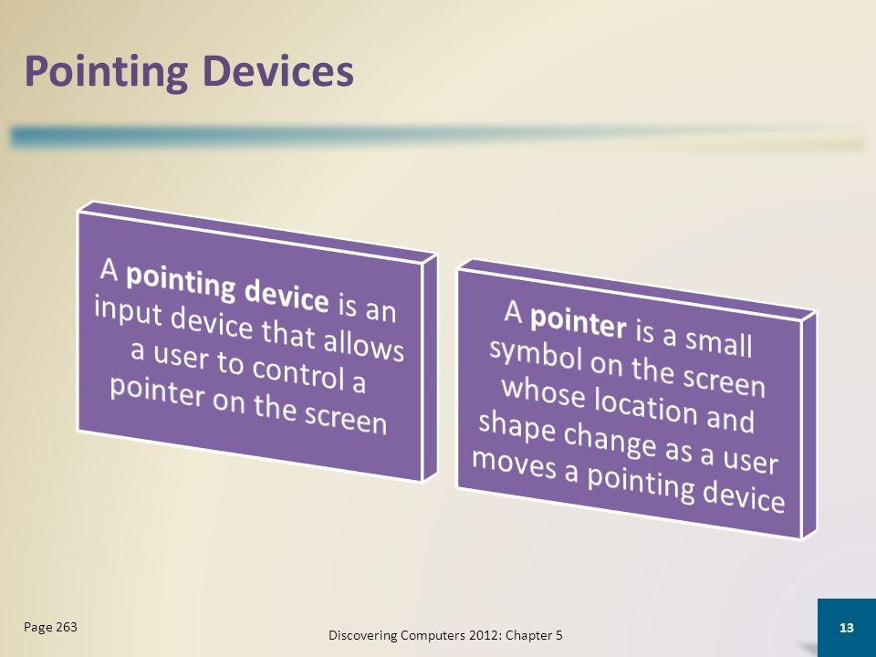 Pointing Devices Discovering Computers 2012: Chapter 5 13 Page 263