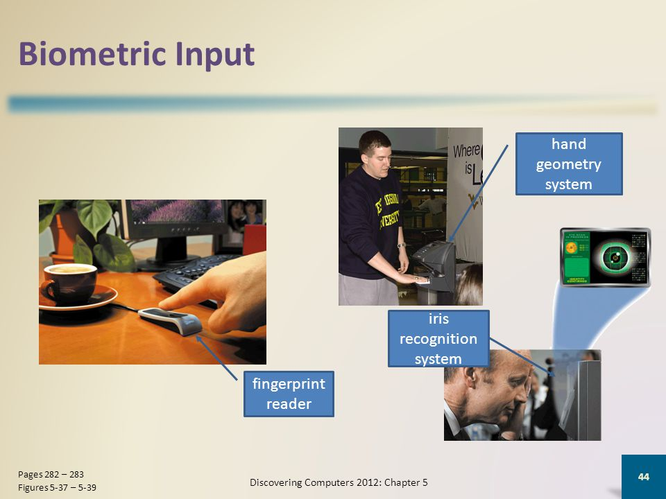 Biometric Input Discovering Computers 2012: Chapter 5 44 Pages 282 – 283 Figures 5-37 – 5-39 fingerprint reader hand geometry system iris recognition system