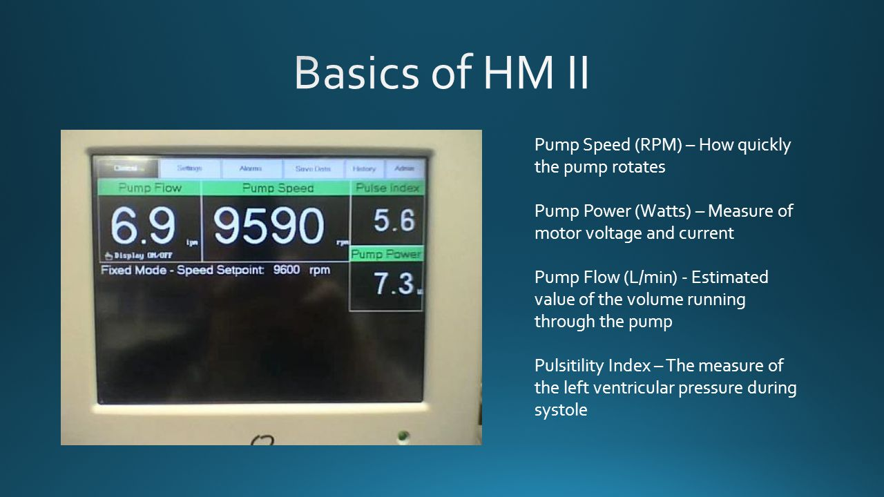 Pump Speed (RPM) – How quickly the pump rotates Pump Power (Watts) – Measure of motor voltage and current Pump Flow (L/min) - Estimated value of the v