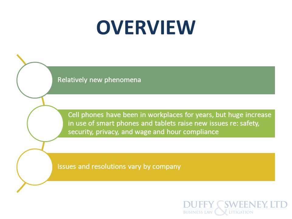 OVERVIEW Relatively new phenomena Cell phones have been in workplaces for years, but huge increase in use of smart phones and tablets raise new issues re: safety, security, privacy, and wage and hour compliance Issues and resolutions vary by company