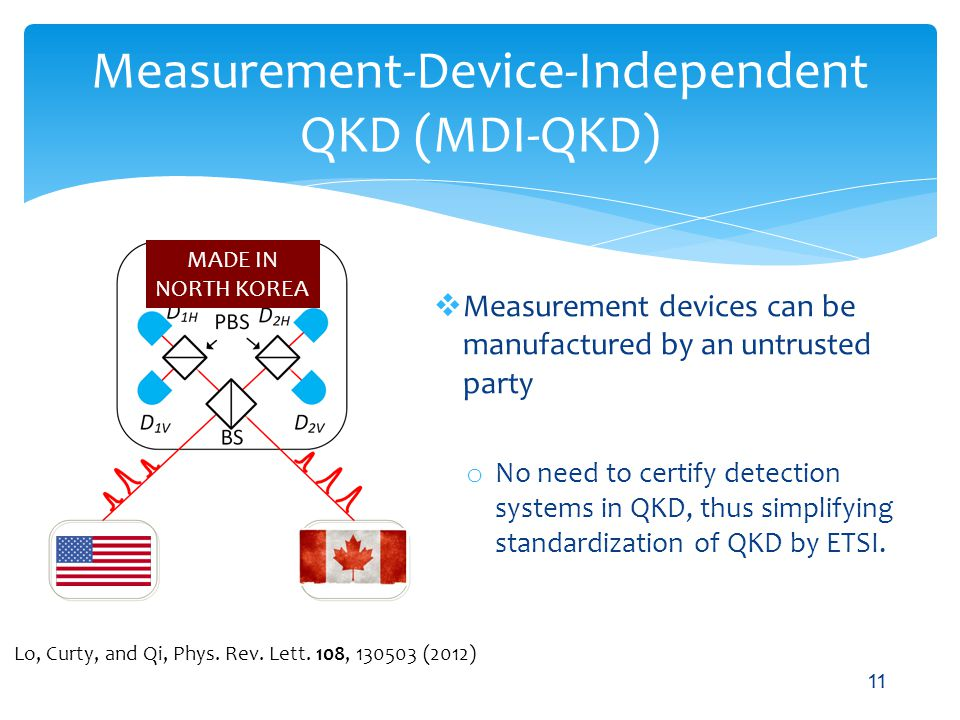 Measurement-Device-Independent QKD (MDI-QKD) Measurement devices can be manufactured by an untrusted party o No need to certify detection systems in Q