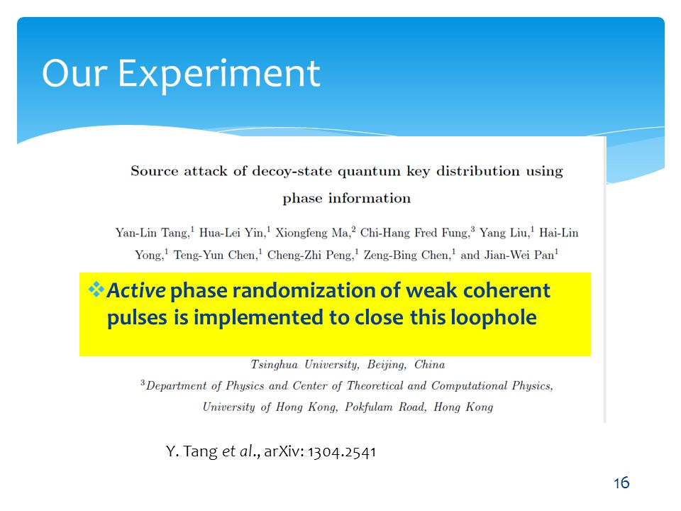 Our Experiment Y. Tang et al., arXiv: 1304.2541 16 Active phase randomization of weak coherent pulses is implemented to close this loophole
