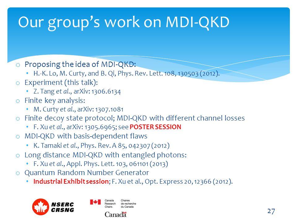 o Proposing the idea of MDI-QKD: H.-K. Lo, M. Curty, and B. Qi, Phys. Rev. Lett. 108, 130503 (2012). o Experiment (this talk): Z. Tang et al., arXiv: