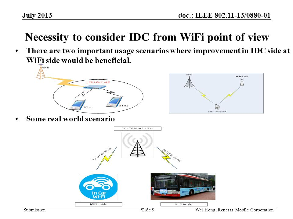 doc.: IEEE 802.11-13/0880-01 Submission Necessity to consider IDC from WiFi point of view There are two important usage scenarios where improvement in IDC side at WiFi side would be beneficial.