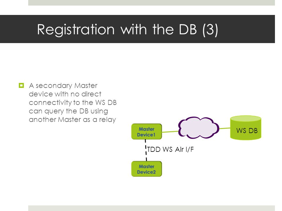 Registration with the DB (3) A secondary Master device with no direct connectivity to the WS DB can query the DB using another Master as a relay WS DB TDD WS Air I/F