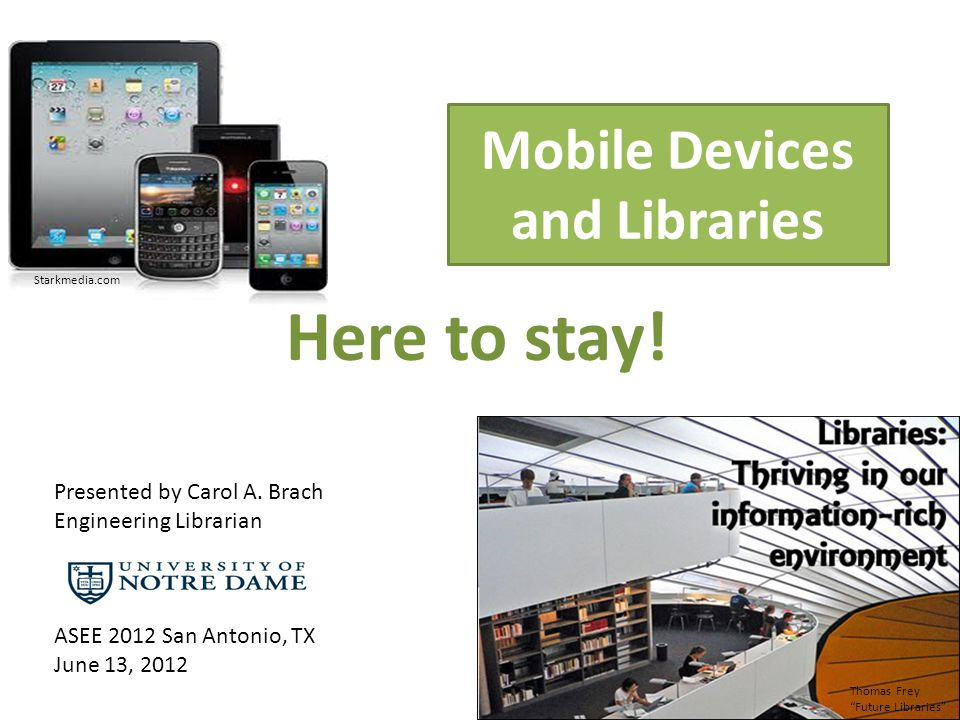 Mobile Devices and Libraries Here to stay.