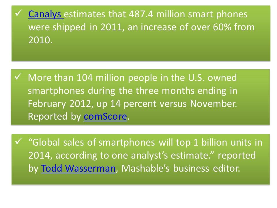 Canalys estimates that 487.4 million smart phones were shipped in 2011, an increase of over 60% from 2010.
