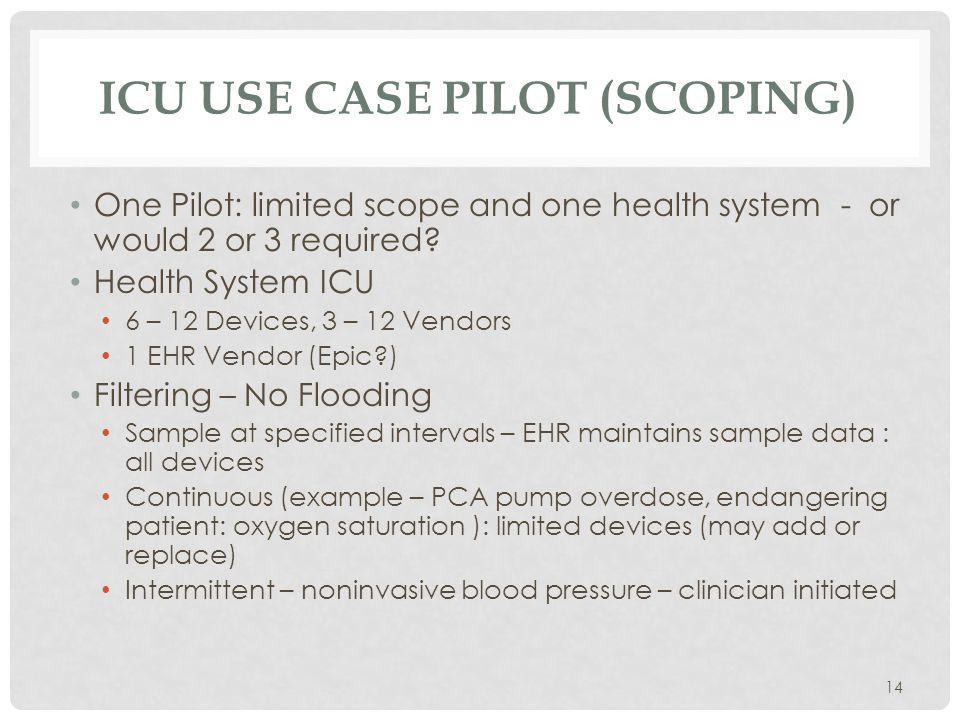 ICU USE CASE PILOT (SCOPING) 14 One Pilot: limited scope and one health system - or would 2 or 3 required.