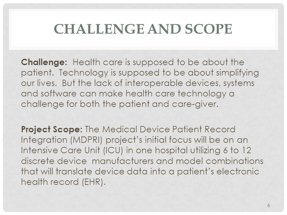 CHALLENGE AND SCOPE Challenge: Health care is supposed to be about the patient.