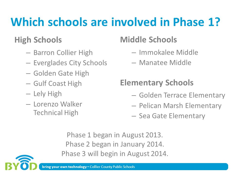 bring your own technology – Collier County Public Schools Which schools are involved in Phase 1? High Schools – Barron Collier High – Everglades City