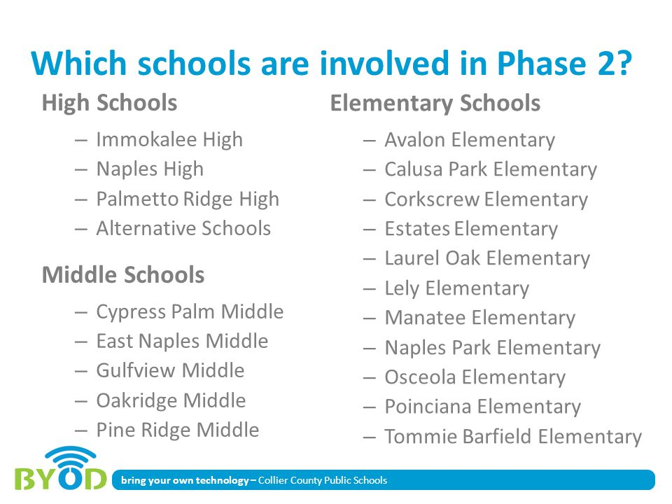 bring your own technology – Collier County Public Schools Which schools are involved in Phase 2.